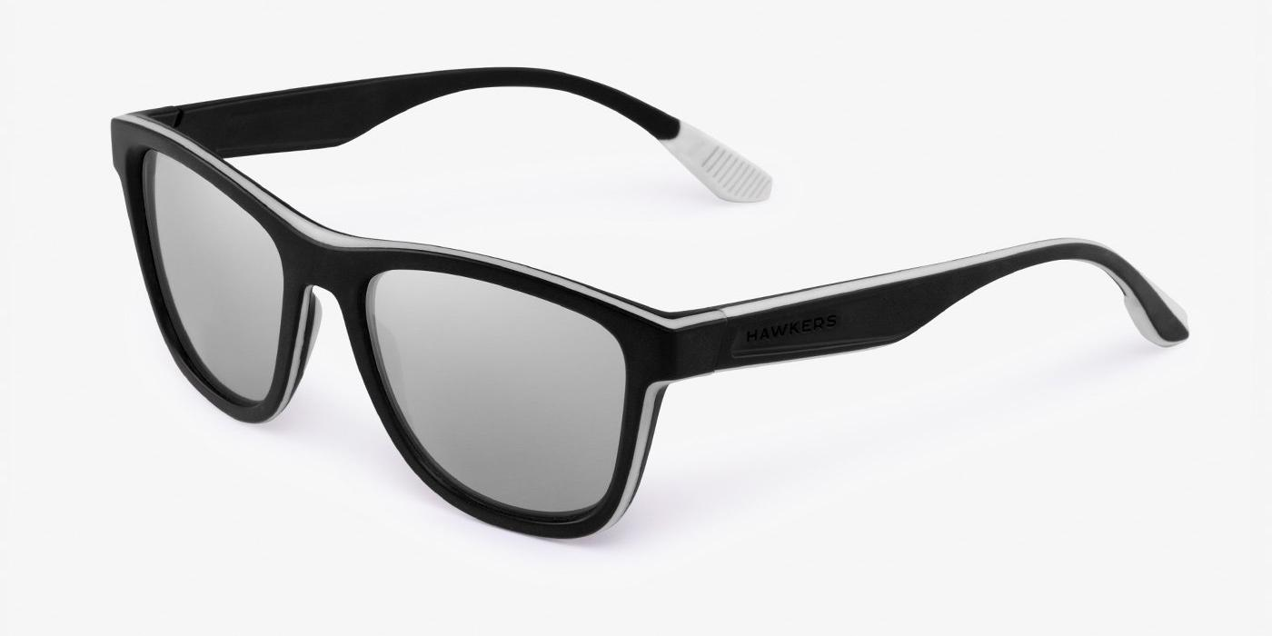 Gafas de sol Hawkers Black White Rubber  Chrome ONE S con lente gris